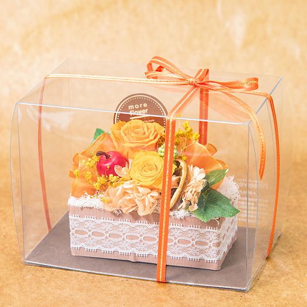 オレンジ色のケーキ型プリザーブドフラワー